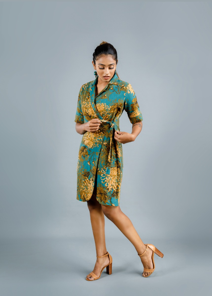 Women's Hunter Green and Brown Printed  Dress