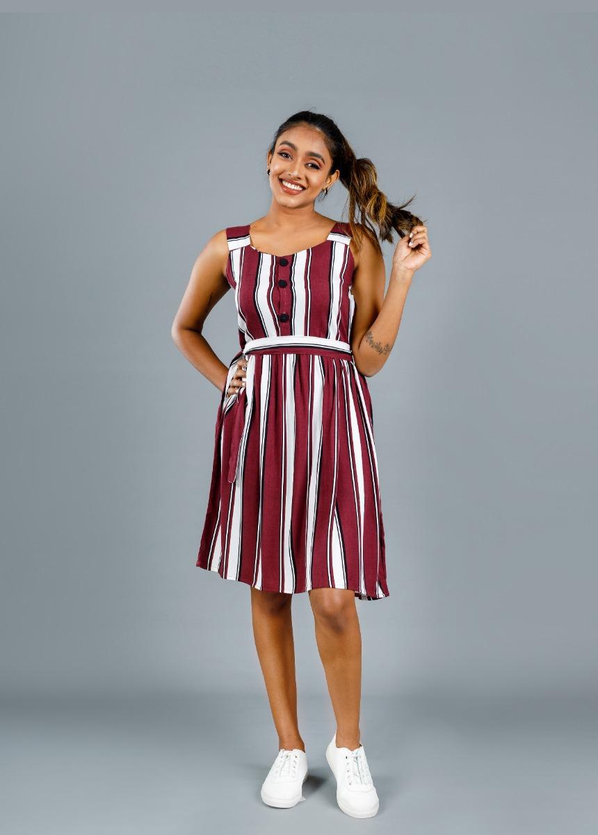 Women's Sangria Maroon & White, Striped  Dress