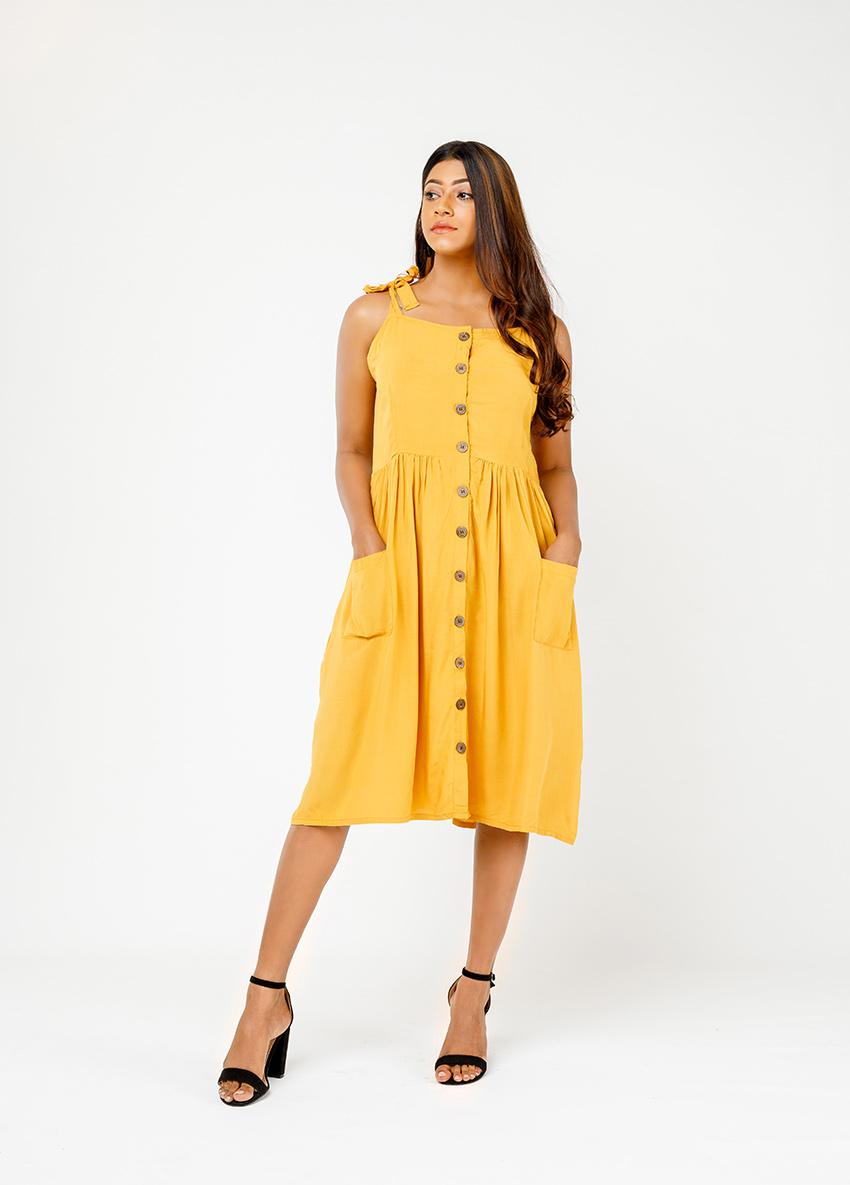 Women YEellow Solid Patch Pocket A-Line Dress
