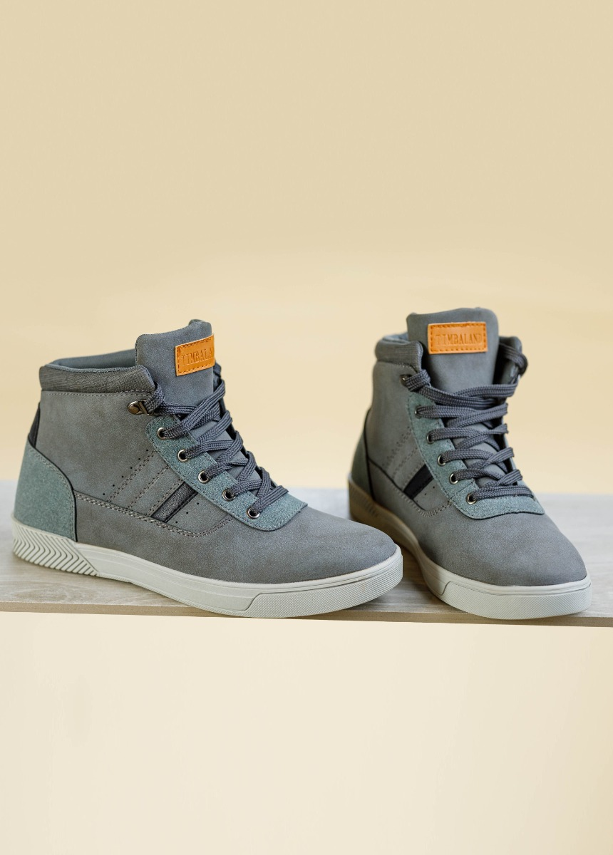 Men Gray Solid Mid-Top Sneakers