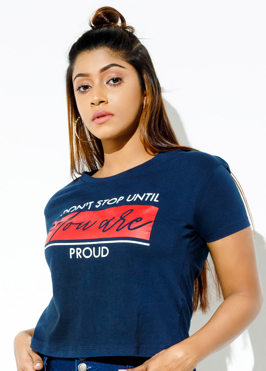 Printed Round Neck  crop T-shirt
