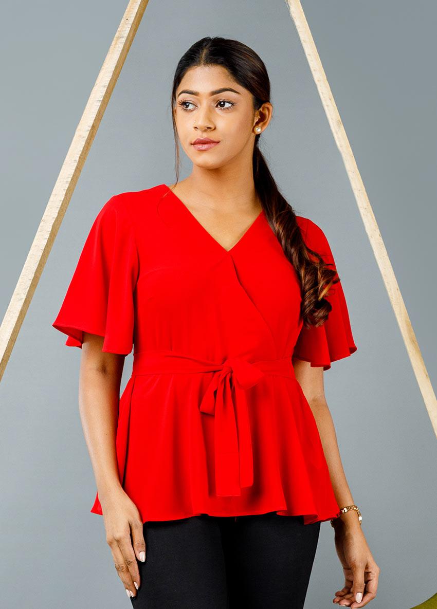 WOMEN RED COLOUR SOLID BLOUSON PEPLUM  TOP