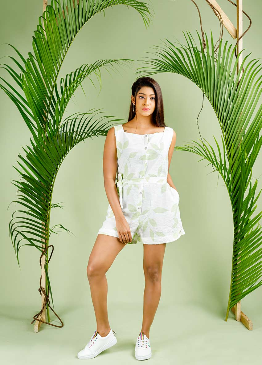 Women white colour Printed Playsuit