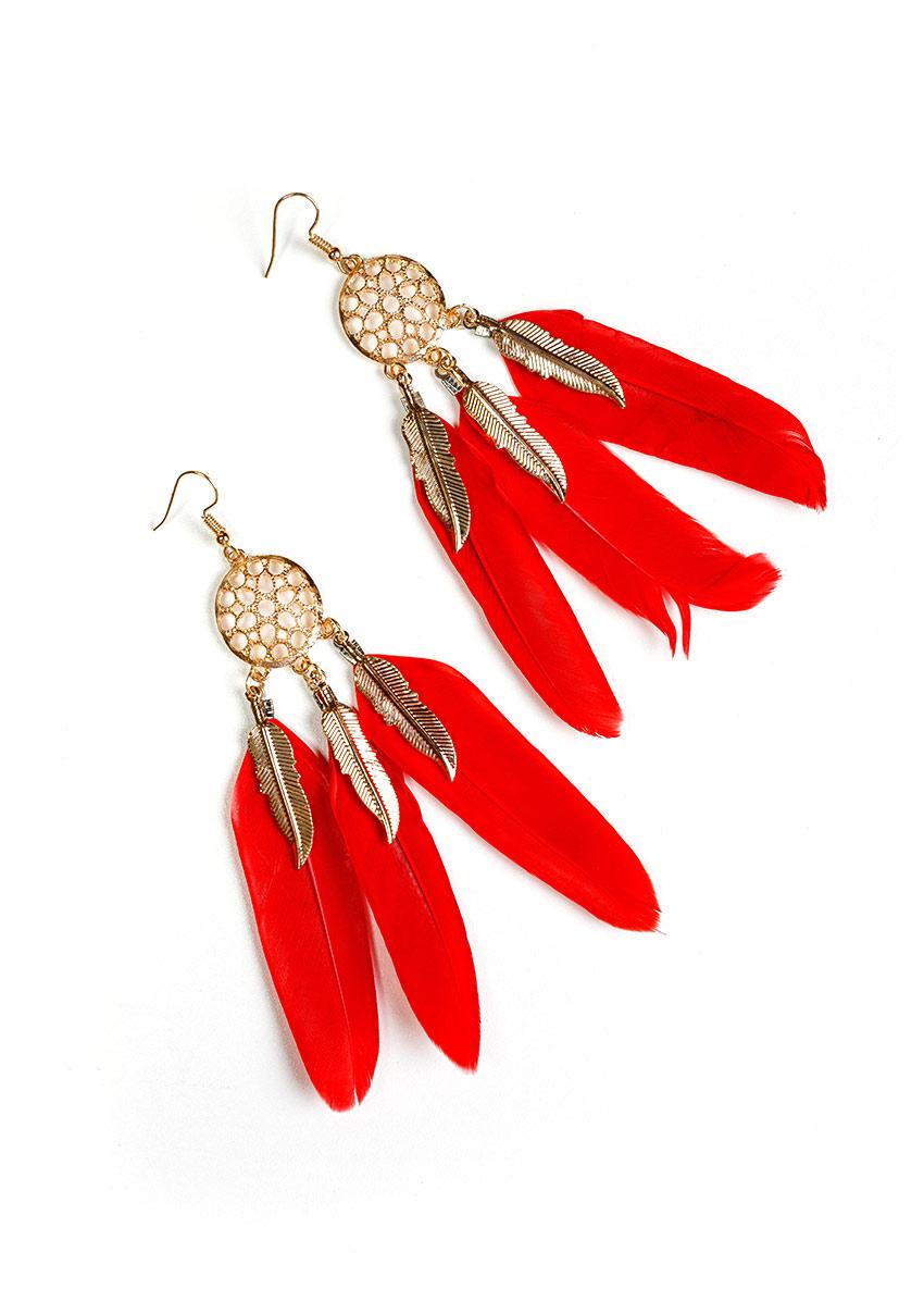 Women Red  Feather Shaped Drop Earrings