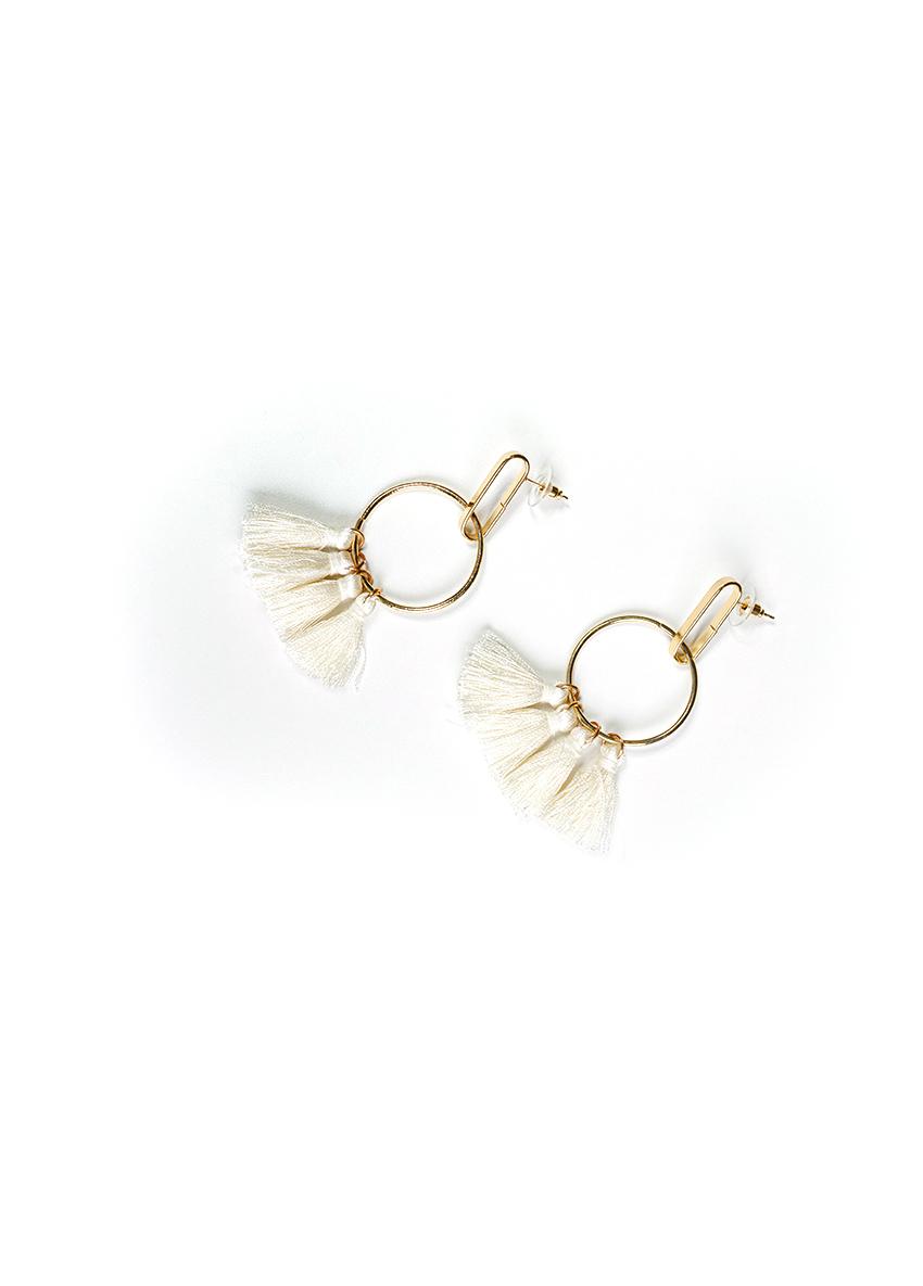 Women White Tasselled Drop Circular Earrings