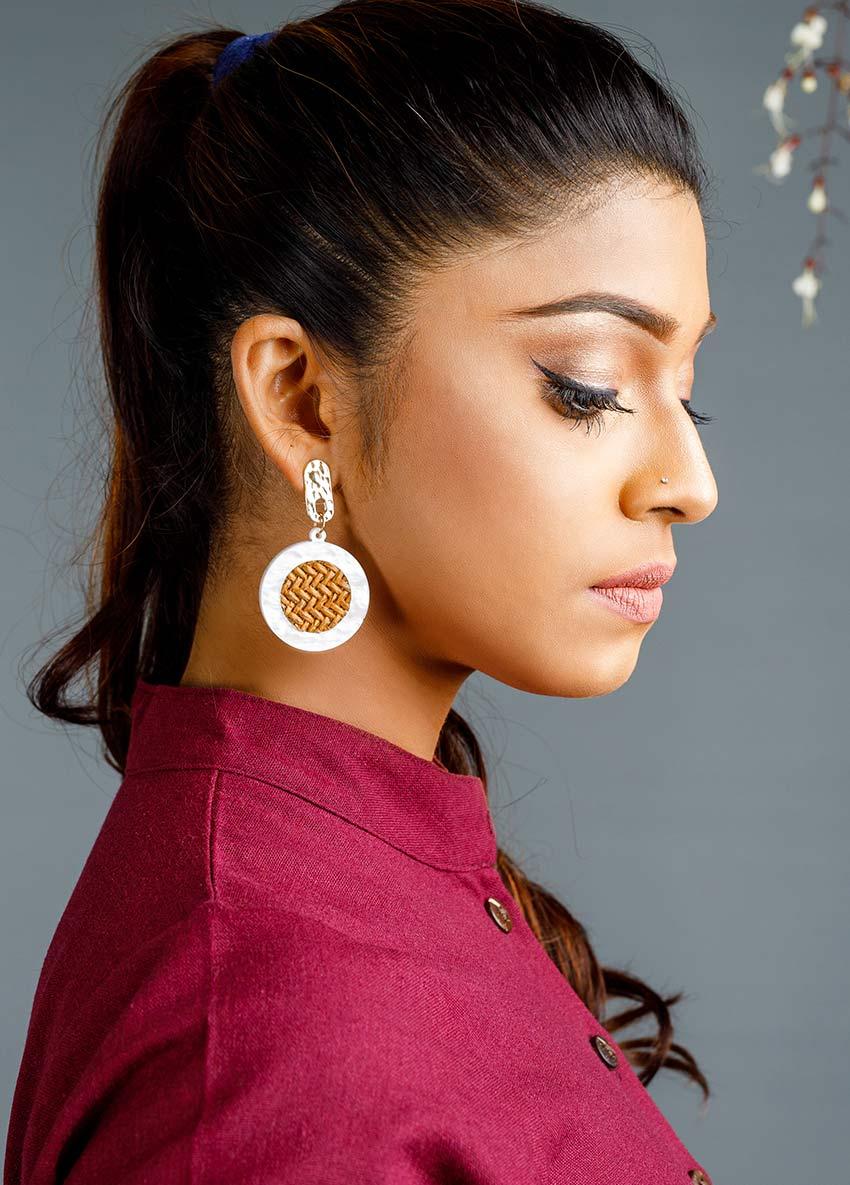 Women White Circular Drop Earrings