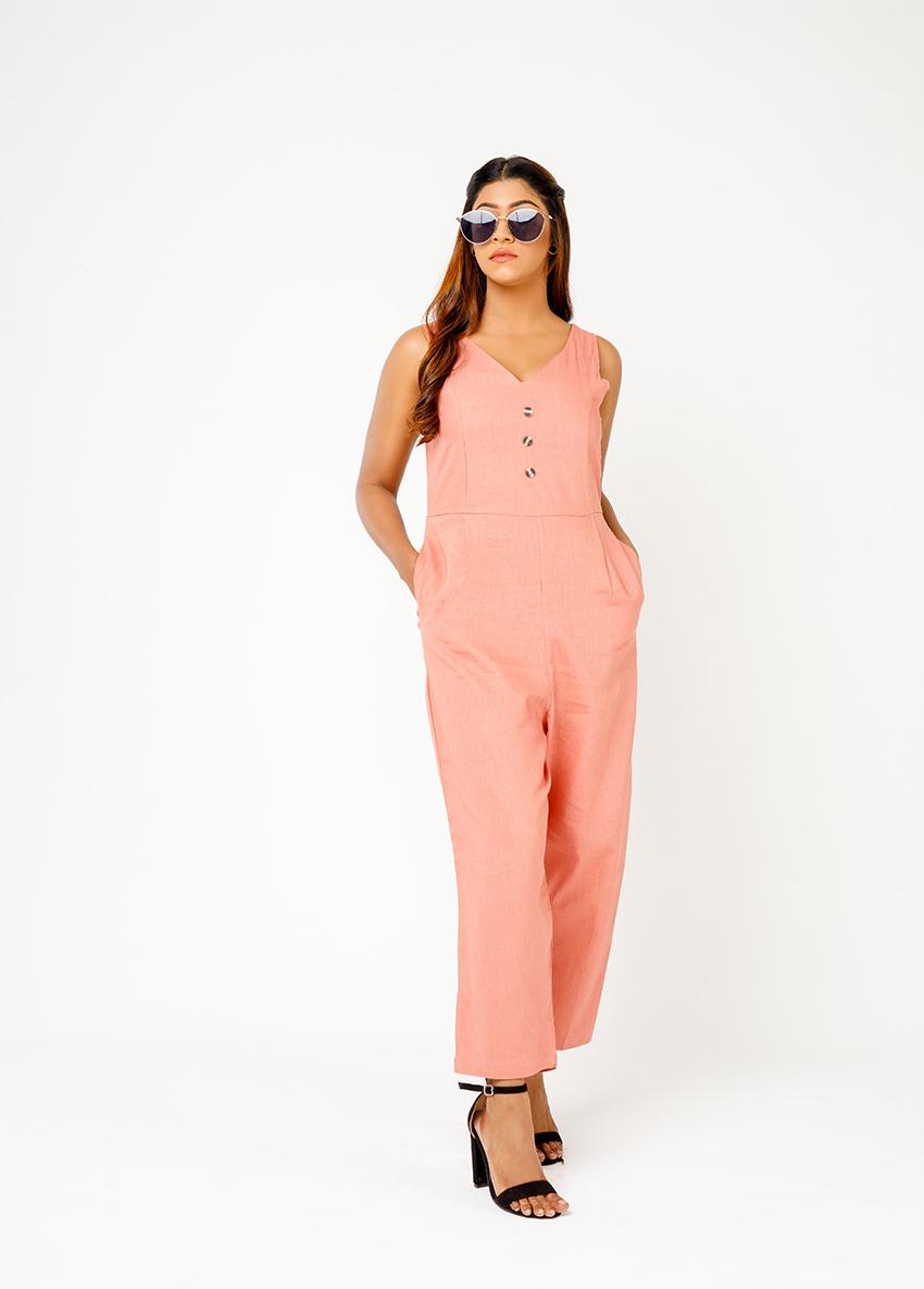 Women beach colour Solid Basic Jumpsuit