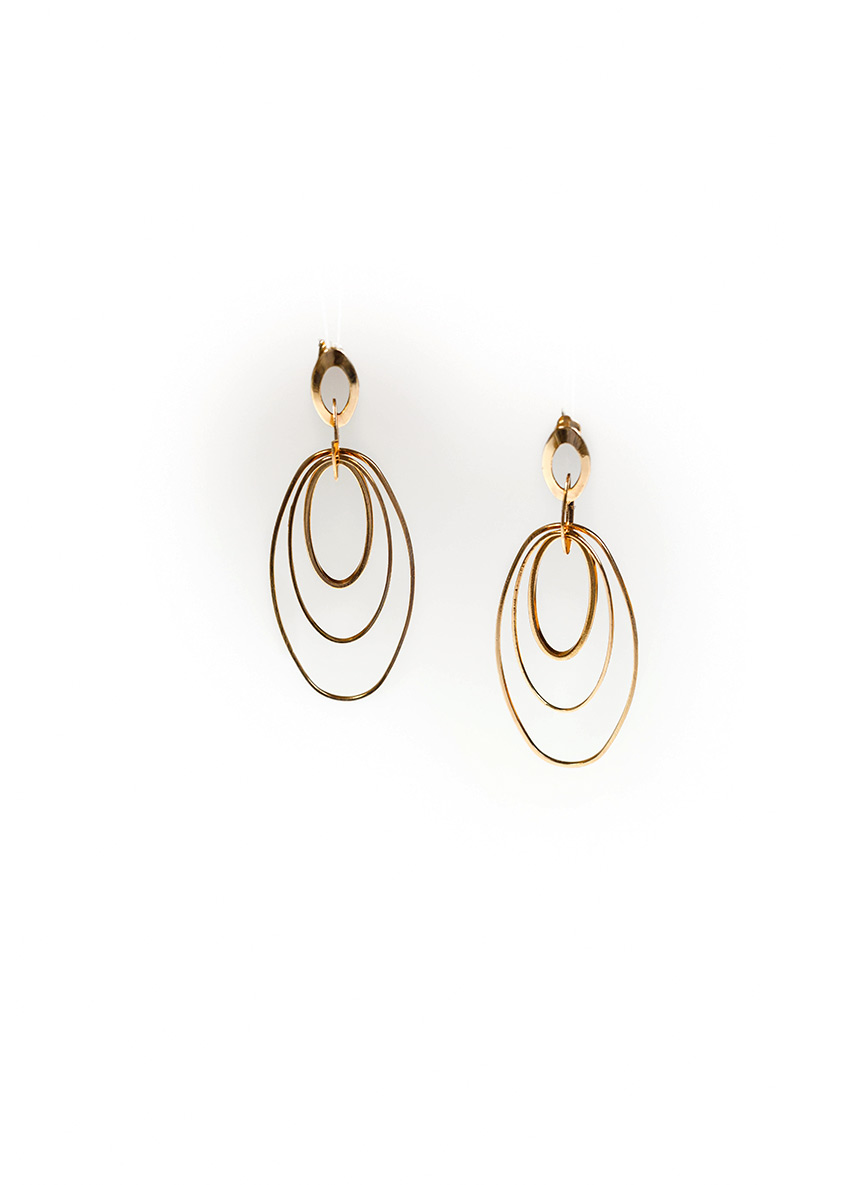 Women Gold-Plated Geometric Drop Earrings