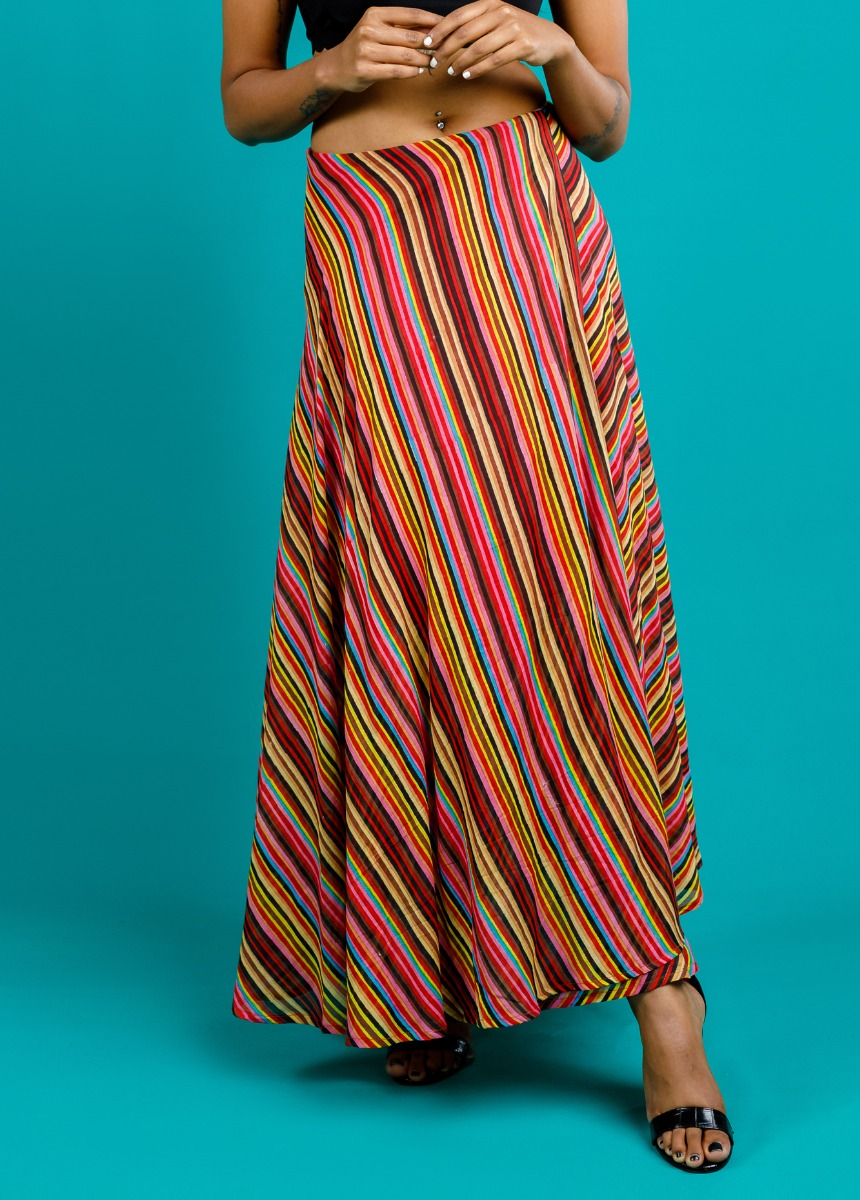 Women Multicolor Printed Flared Maxi Skirt