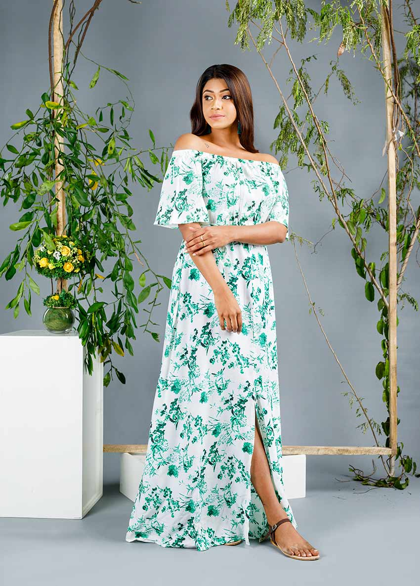 Off-Shoulder Floral Print Maxi Dress