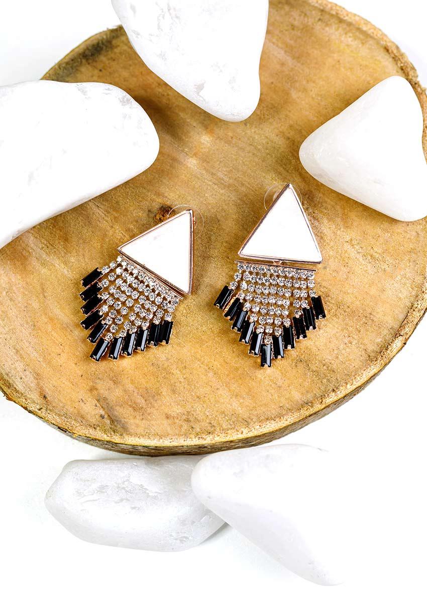 Women White  Stone Studded Drop Earrings