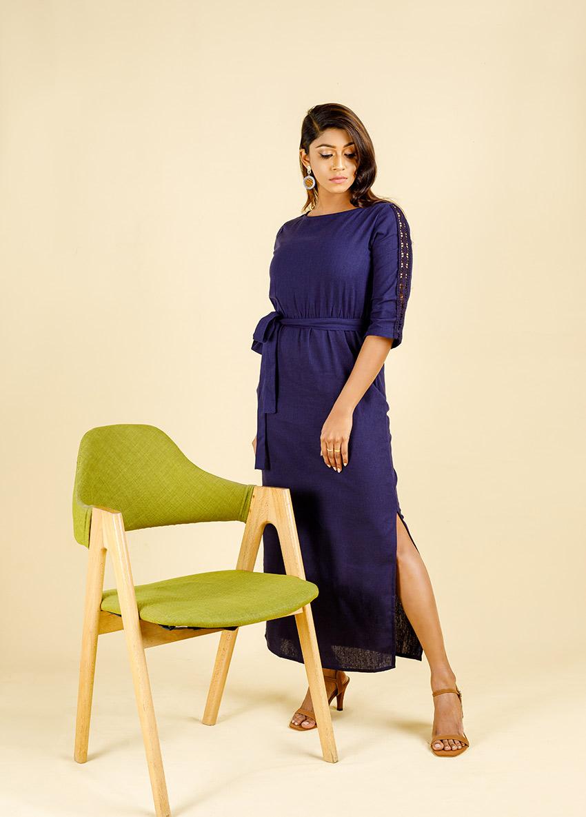 Women Purple colour half-Quarter Sleeves maxi Dress