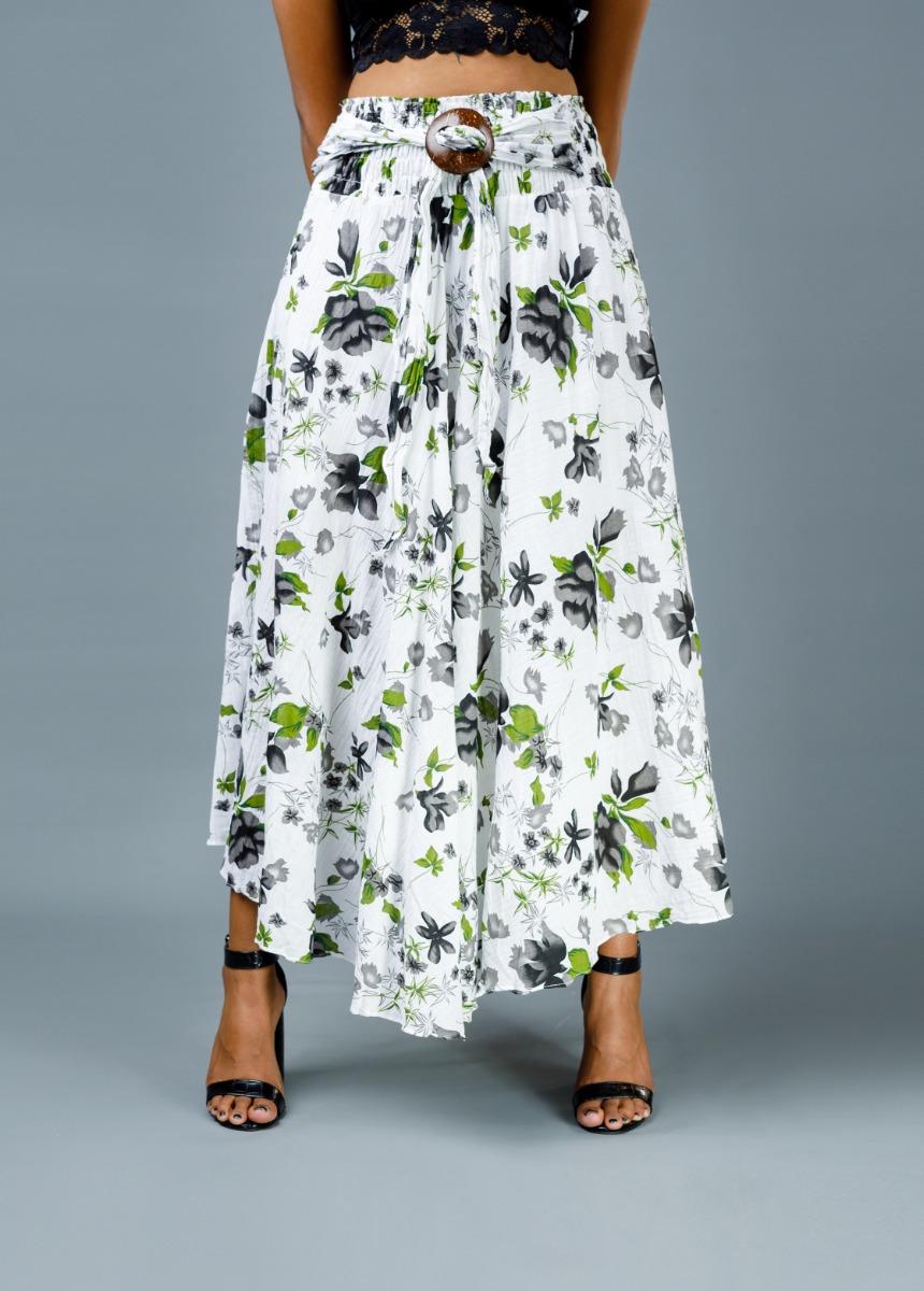 Women White Colour Printed Flared Maxi Skirt