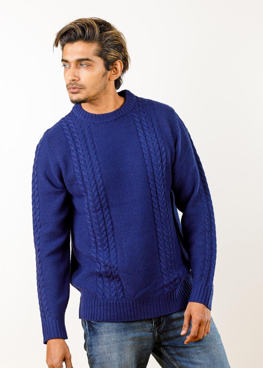 Men Blue Colour blocked Cable Knit Sweater