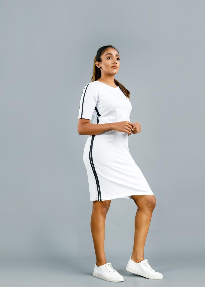 Women  White  and Black Striped T Shirt Dress