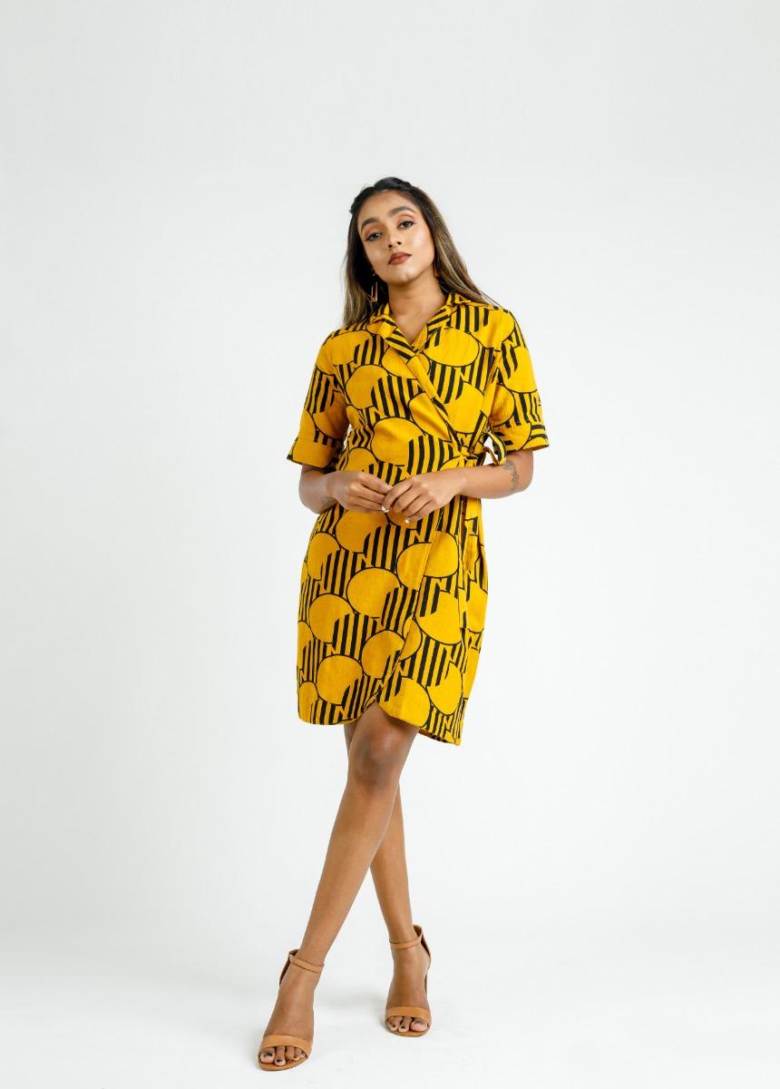 Women's Honey & Black Striped Printed Dress