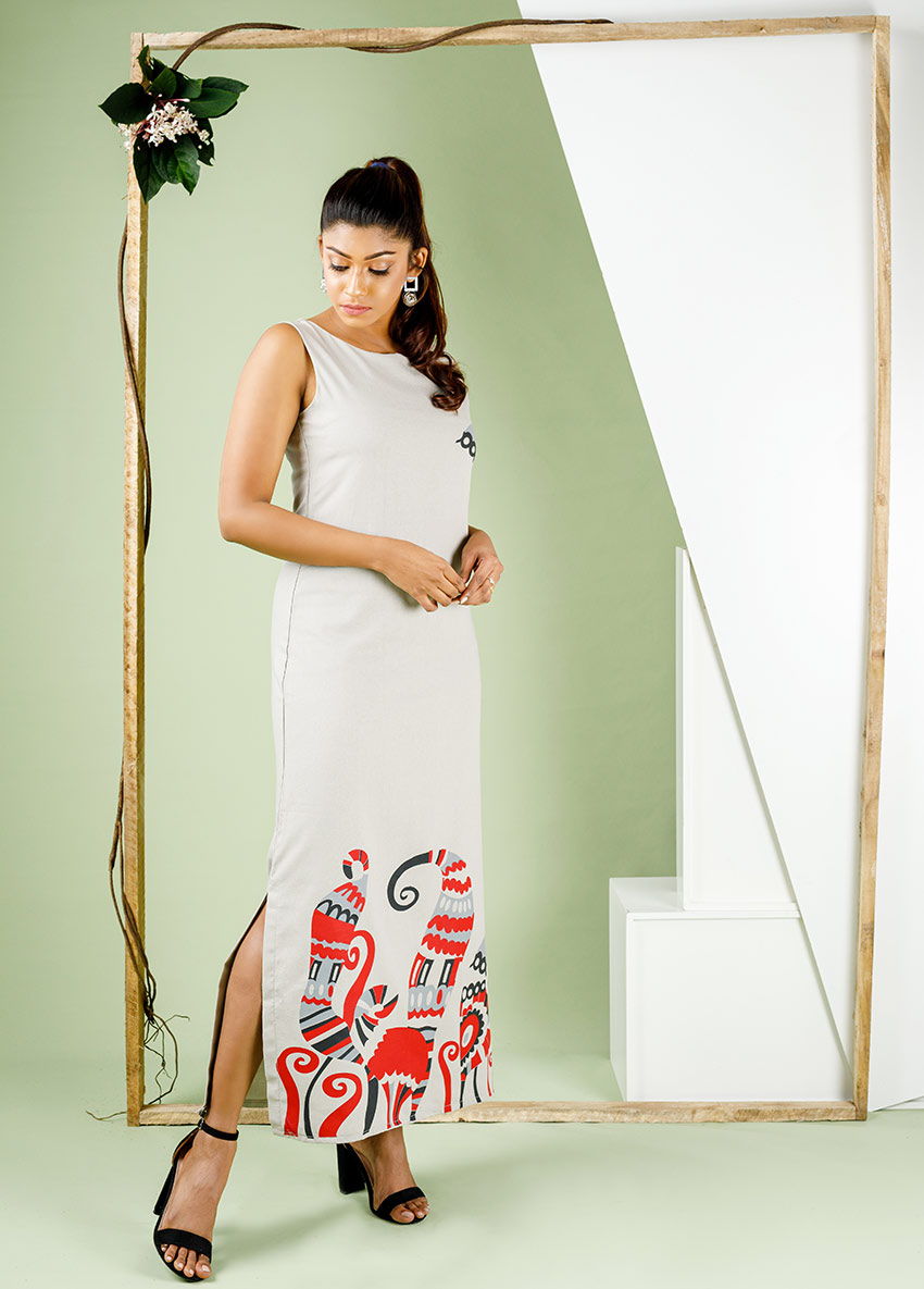 Women Gray colour  printed , sleeveless maxi Dress