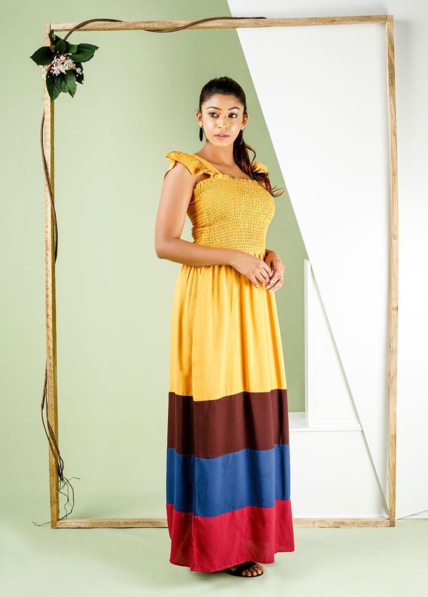Women striped colour blocked  Maxi Dress