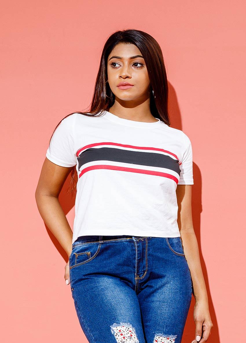 Striped Round Neck Crop T-shirt