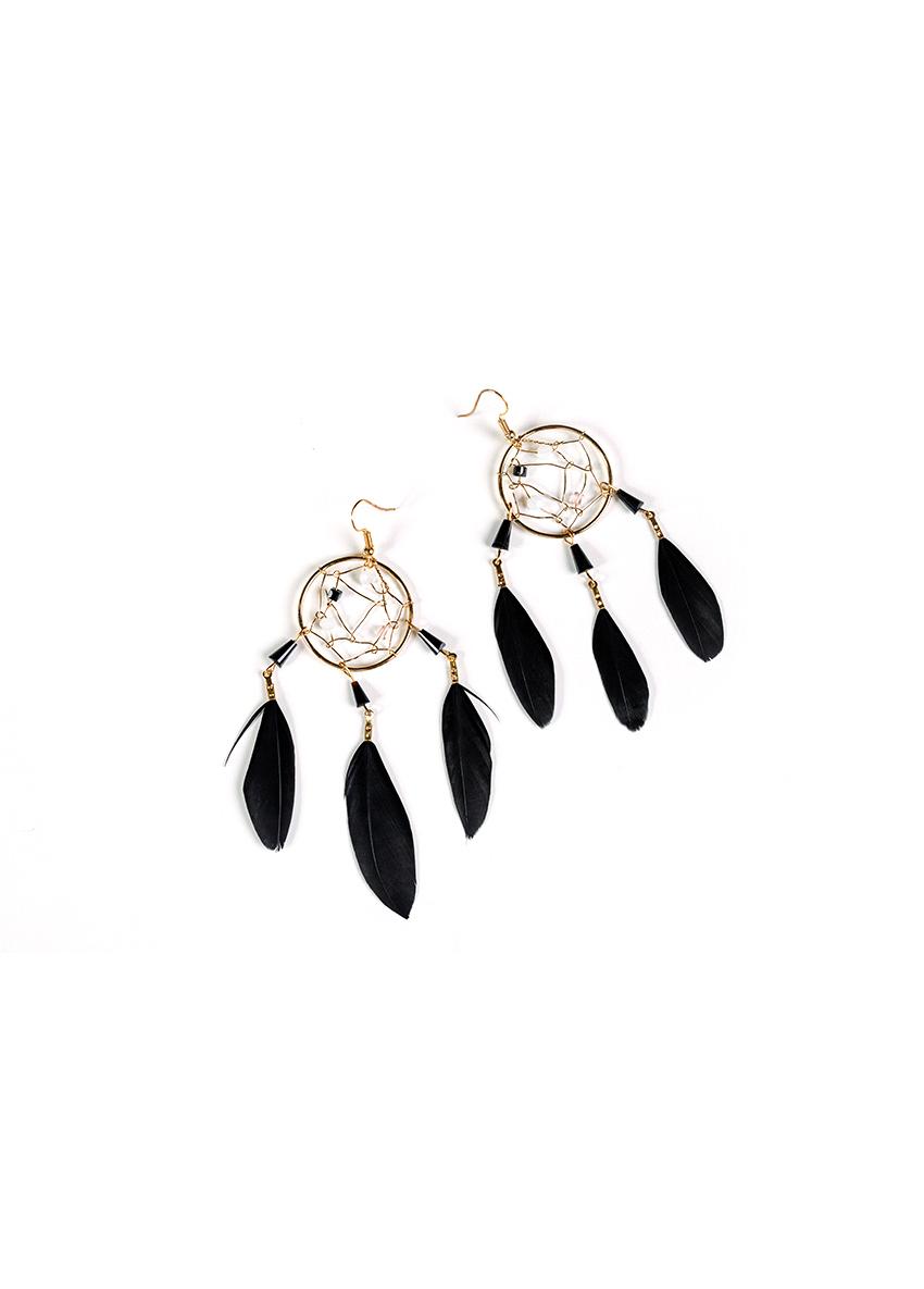 Women black  Feather Shaped Drop Earrings