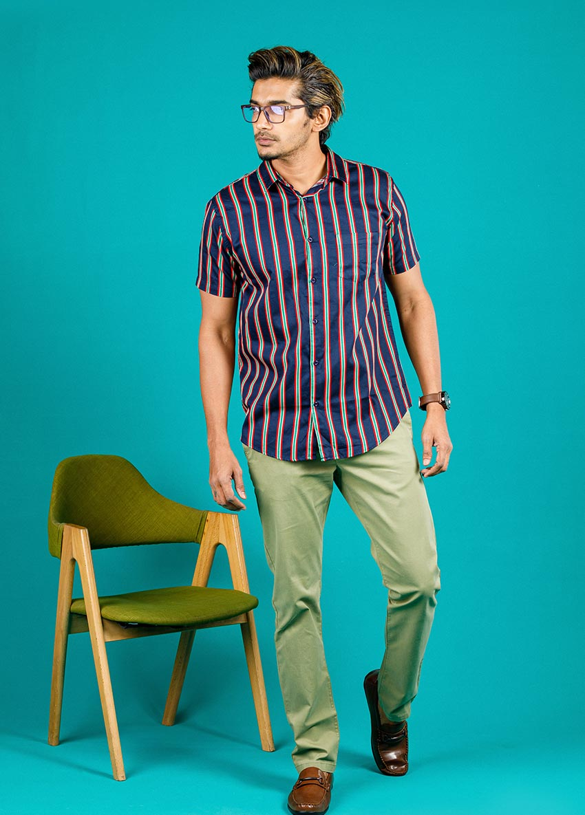 Men Olive Green Casual Trouser