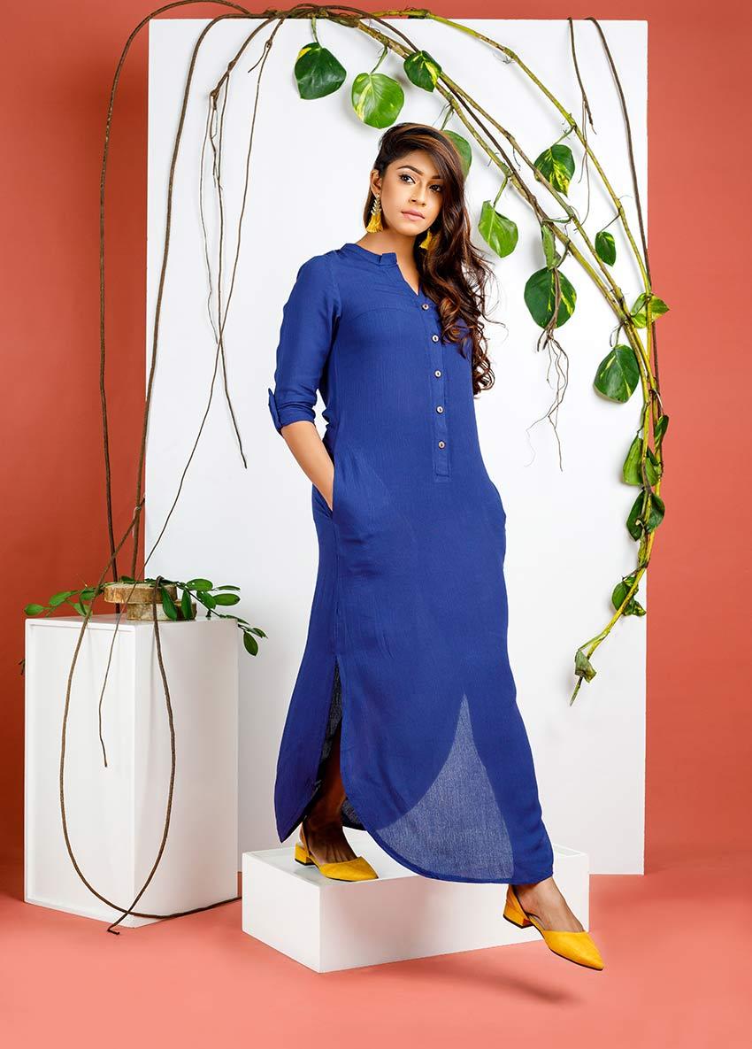 Women Blue colour solid long dress