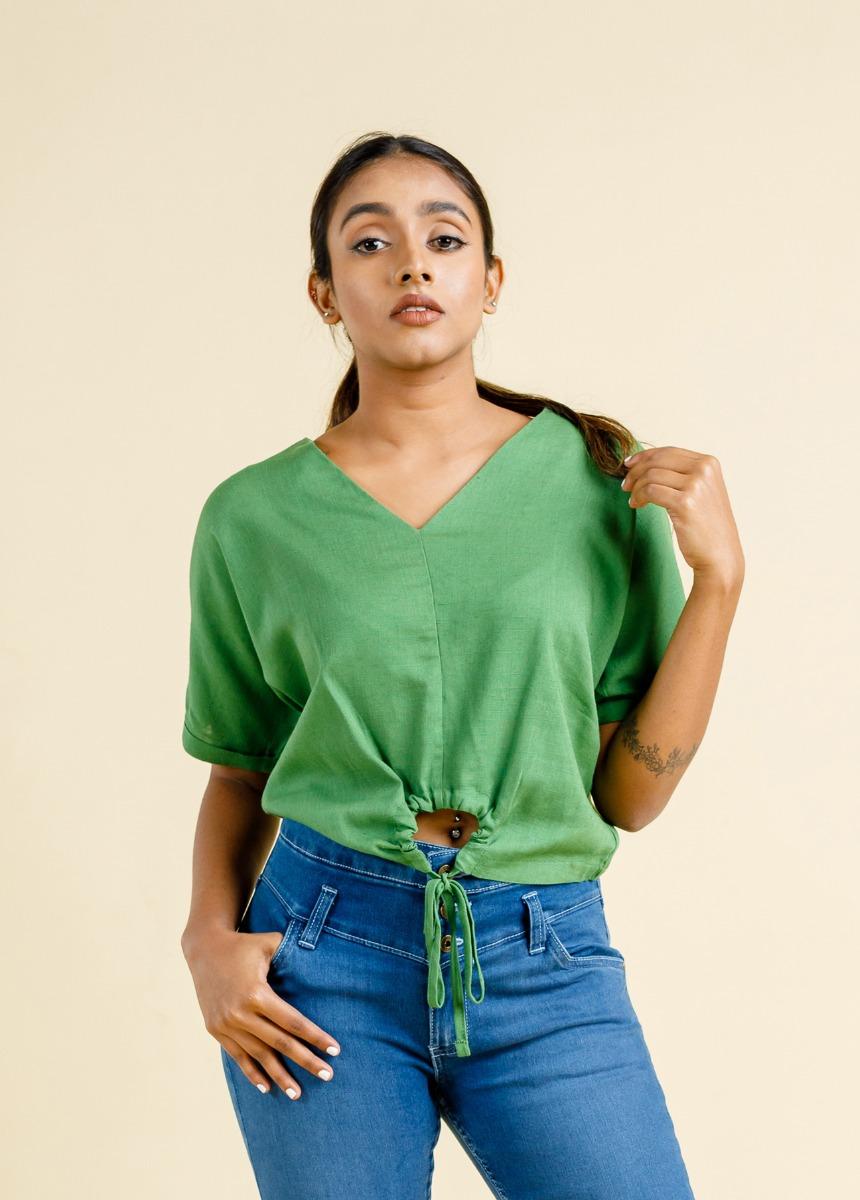 Women's Green Wrap Top