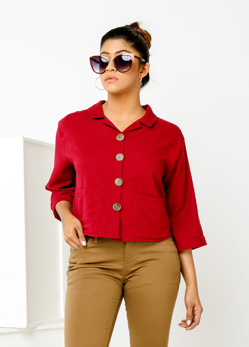 WOMEN RED COLOUR FORMAL SHIRT STYLE TOP