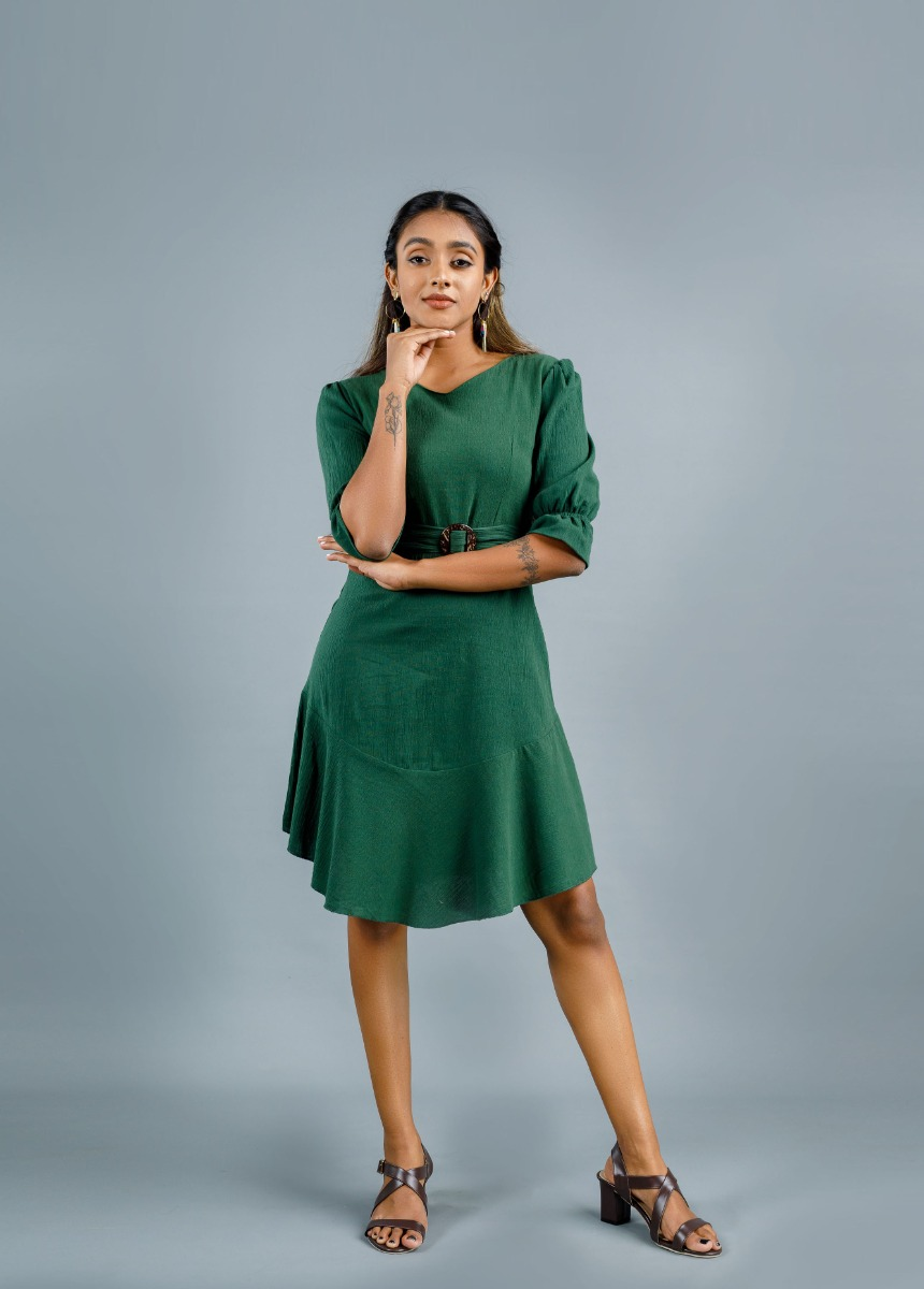 Women's Army Green  Solid Dress