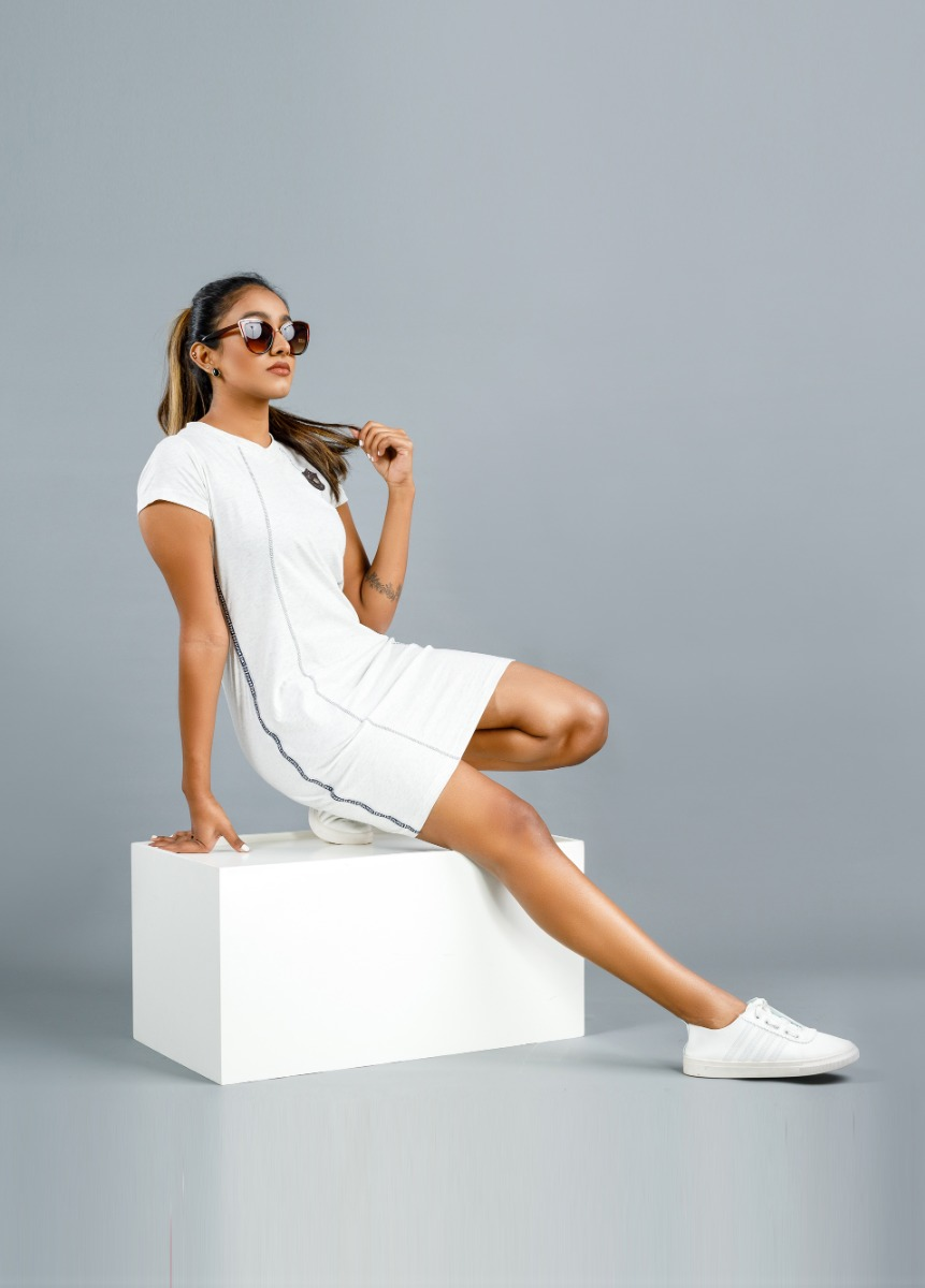 Women's  Light Charcaol white and Ash Striped T Shirt Dress