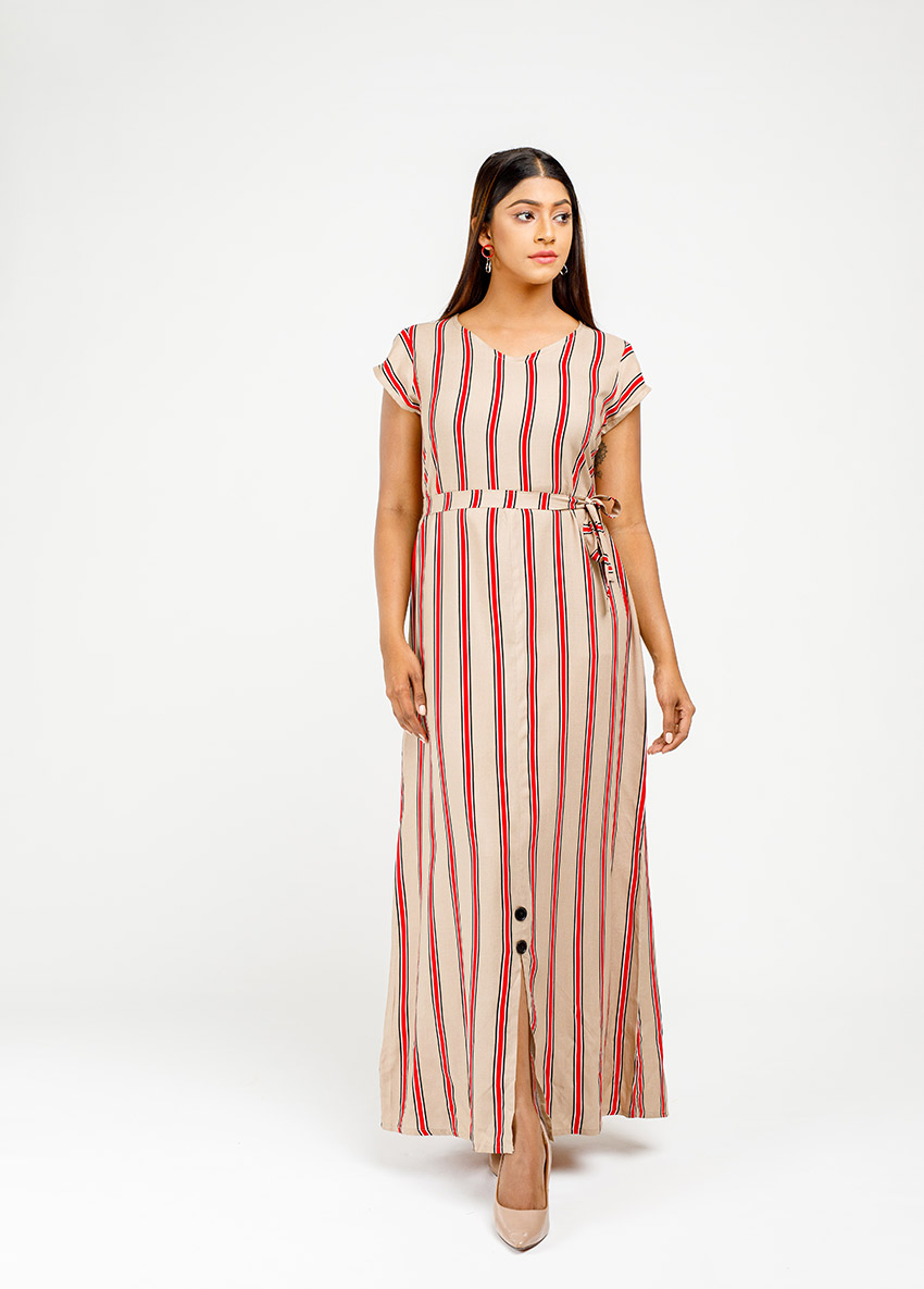 Women Brown and white striped  Dress