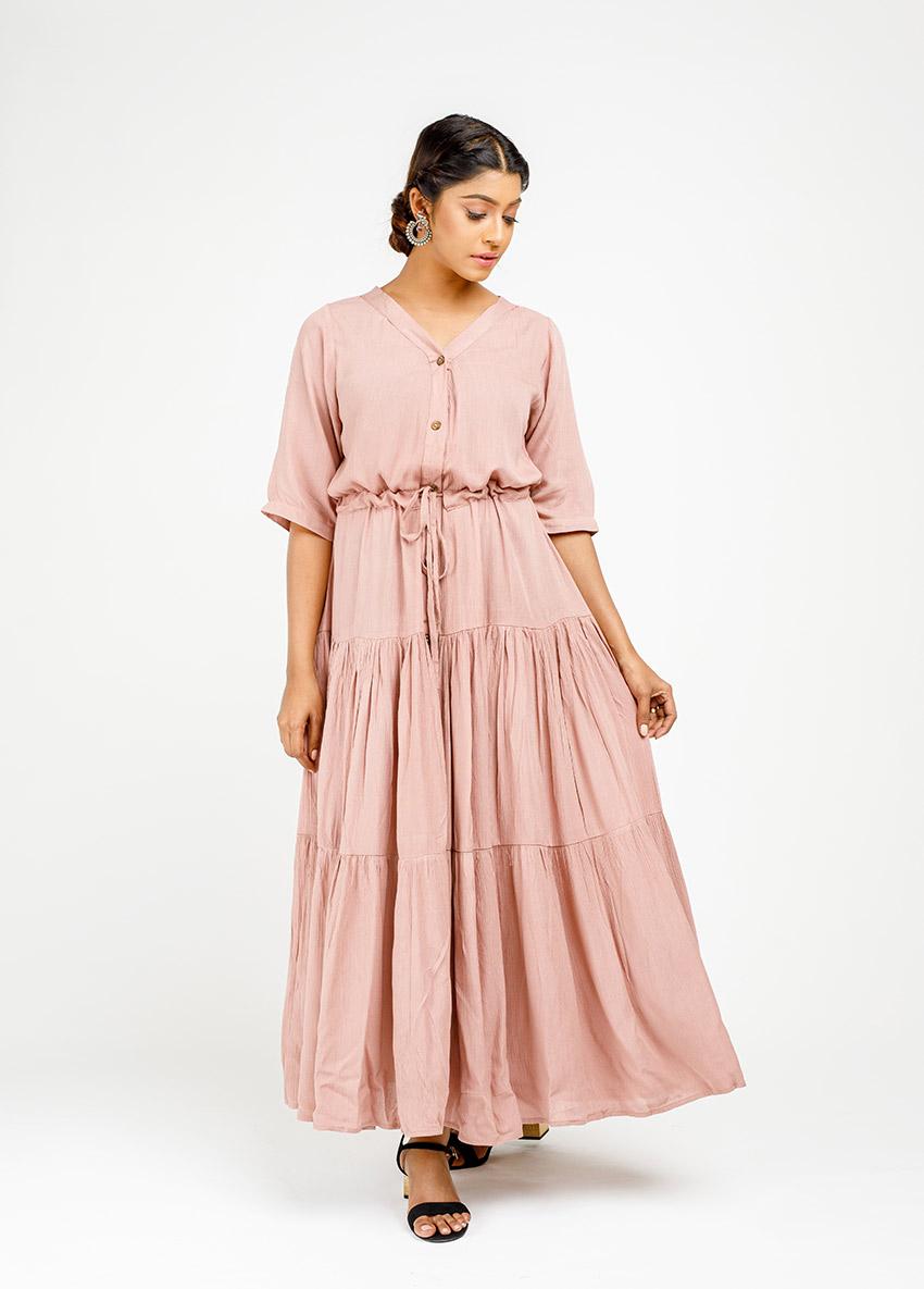 Women Beach colour  Tiered Maxi Dress
