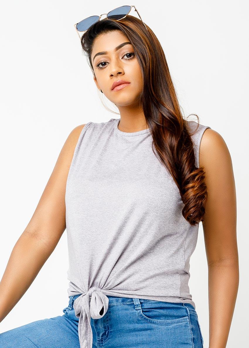 Round Neck Tie-Hem T-shirt
