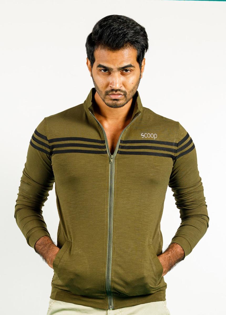 Men Green and Black Striped Polo Collar T-shirt