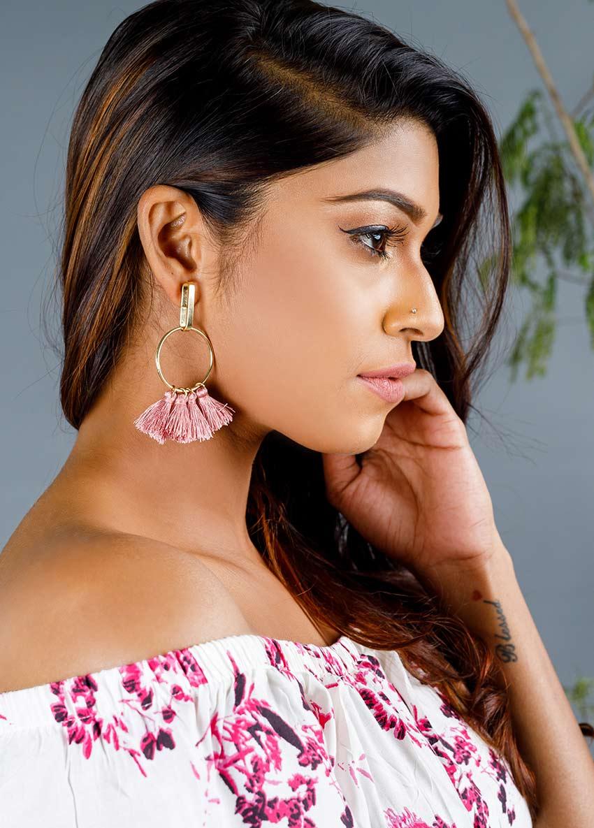 Women Tasselled Drop Circular Earrings