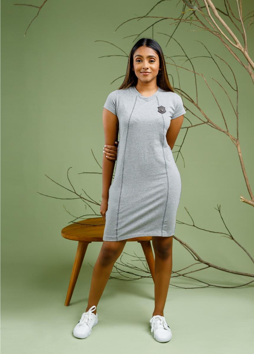 Women's  Gray Solid T Shirt Dress
