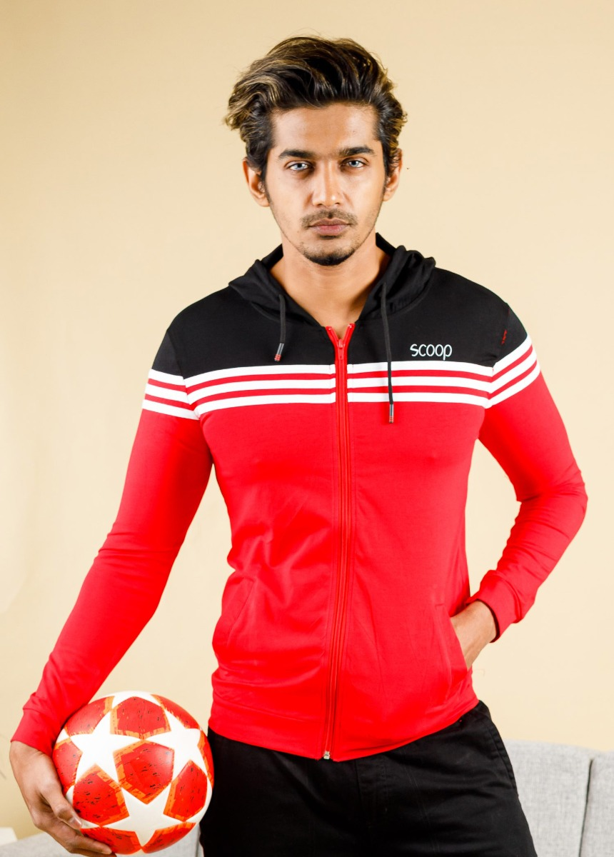 Men Red and Black  Striped Hoodie T-shirt