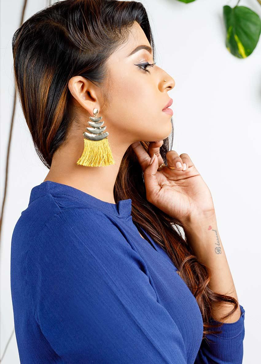 Women Yellow Tasselled Drop Earrings