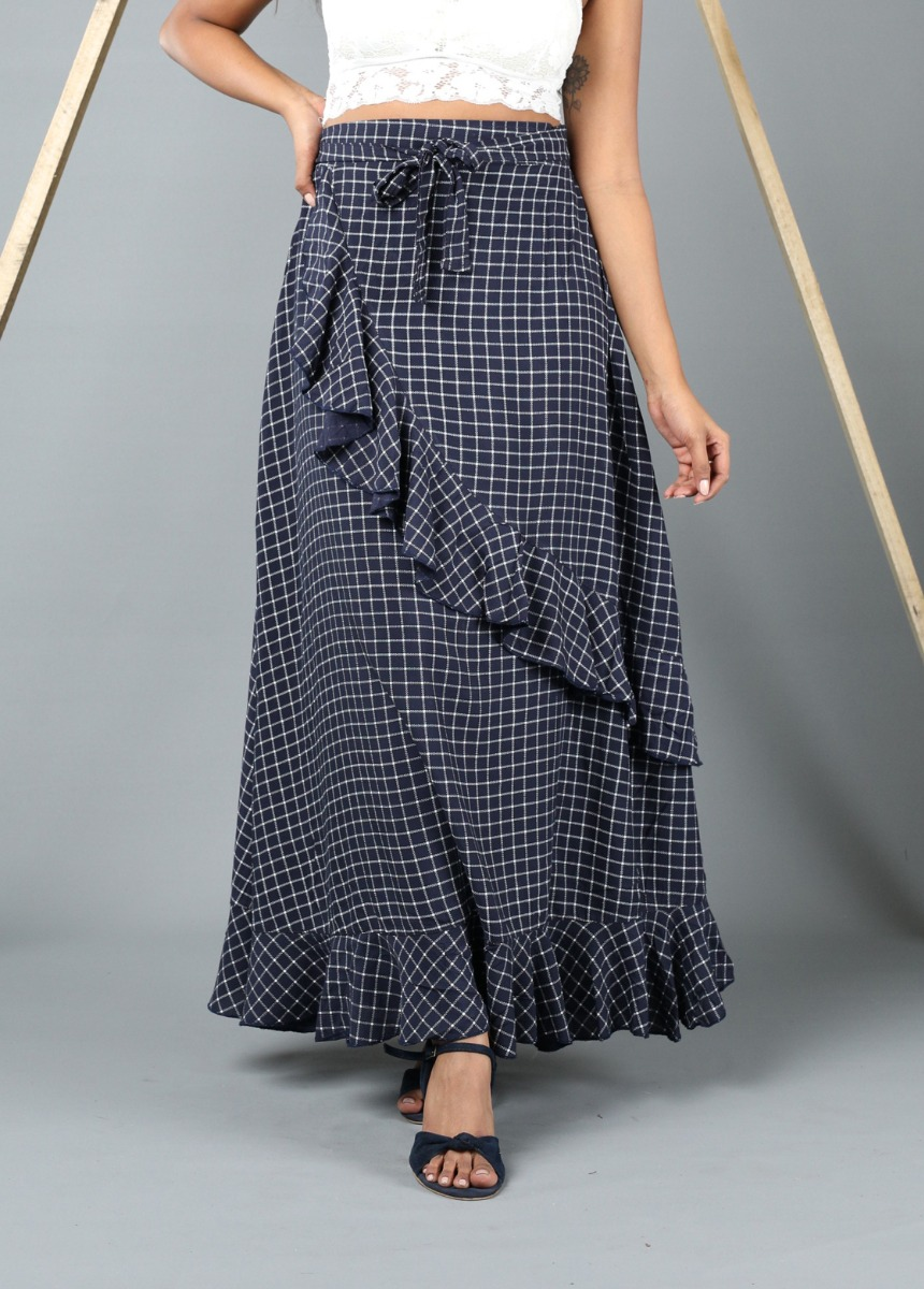 Women Blue and White Colour Flared Maxi Skirt