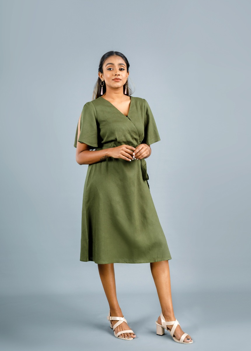 Women's Olive Green Solid Dress