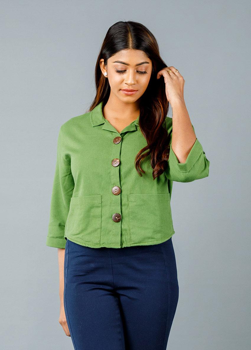 WOMEN GREEN COLOUR FORMAL SHIRT STYLE TOP
