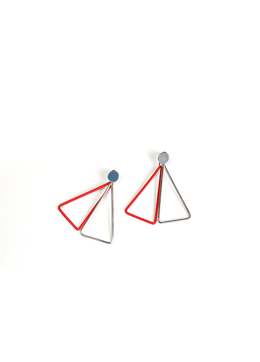 Women Red & Silver Drop Earrings
