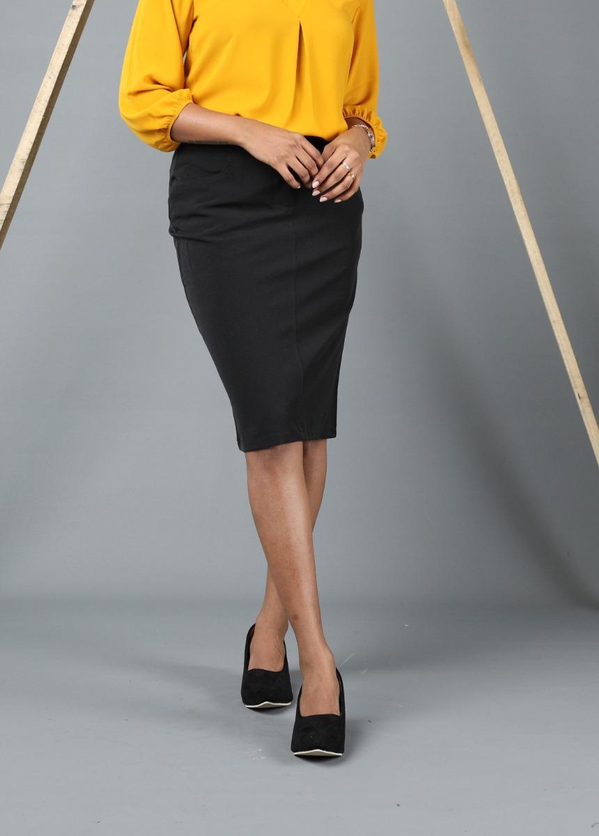 Women black Colour Solid Front Pencil Skirt