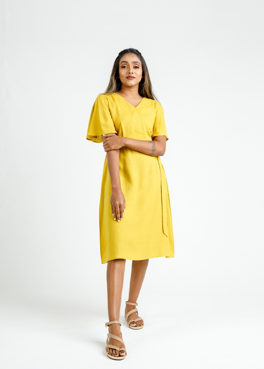 Women's Mustard Yellow Solid Dress