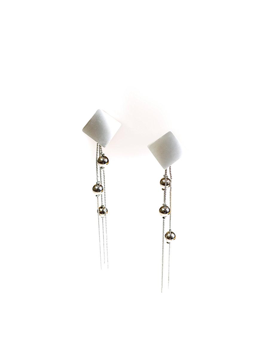 Women Silver  Tasselled Drop Earrings