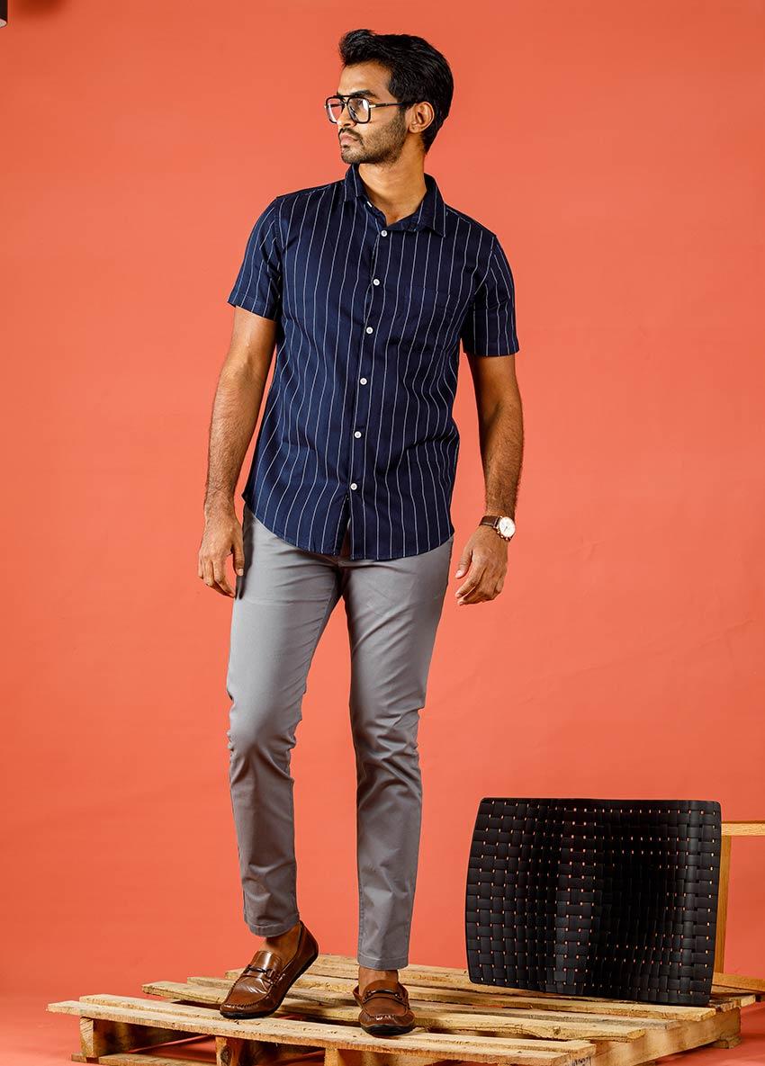 Men Gray Casual Trouser