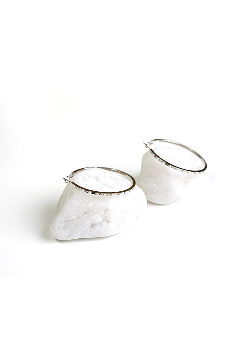 Women Silver-Plated Circular Hoop Earrings
