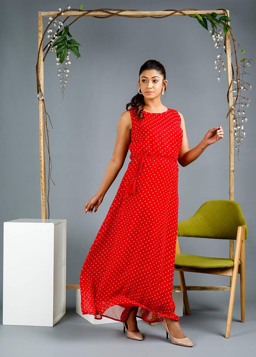Women Red colour White Polka Dot Maxi Dress