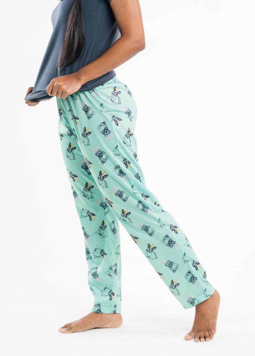 Women's Mint Green Printed Lounge Pants