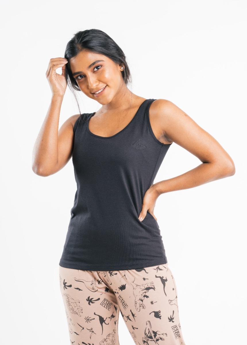 Women's Black Solid Tank Top